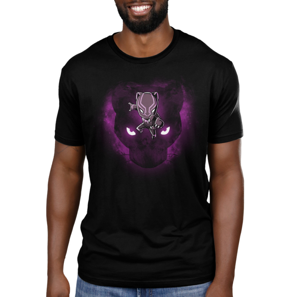 Black Panther Men's t-shirt model officially licensed black Marvel t-shirt featuring Black Panther jumping towards you with the face of a black panther with glowing eyes behind him with a purple sparkly haze behind the panther