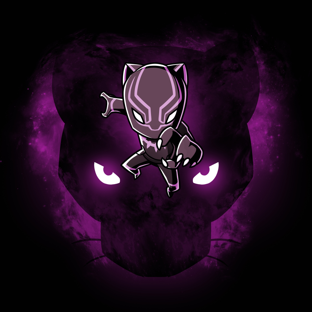 Black Panther t-shirt officially licensed black Marvel t-shirt featuring Black Panther jumping towards you with the face of a black panther with glowing eyes behind him with a purple sparkly haze behind the panther