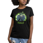 Fools! Women's t-shirt model officially licensed black Disney t-shirt featuring Maleficent looking angry and screaming with her arms up and staff in hand with green fire behind her