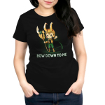 Bow Down to Me Women's t-shirt model officially licensed black Marvel t-shirt featuring Loki holding his staff with him arm out pointing his finger down