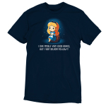 I Give Myself Very Good Advice, But I Very Seldom Follow It t-shirt TeeTurtle navy t-shirt featuring Alice from Alice in Wonderland surrounded by white sparkles and sitting on a brown rock with a thoughtful, slightly confused expression.