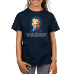 I Give Myself Very Good Advice, But I Very Seldom Follow It Kid's t-shirt model TeeTurtle navy t-shirt featuring Alice from Alice in Wonderland surrounded by white sparkles and sitting on a brown rock with a thoughtful, slightly confused expression.
