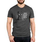 Need Coffee. Right Meow. Men's t-shirt model TeeTurtle charcoal t-shirt featuring a grumpy black cat standing up with its arms crossed.