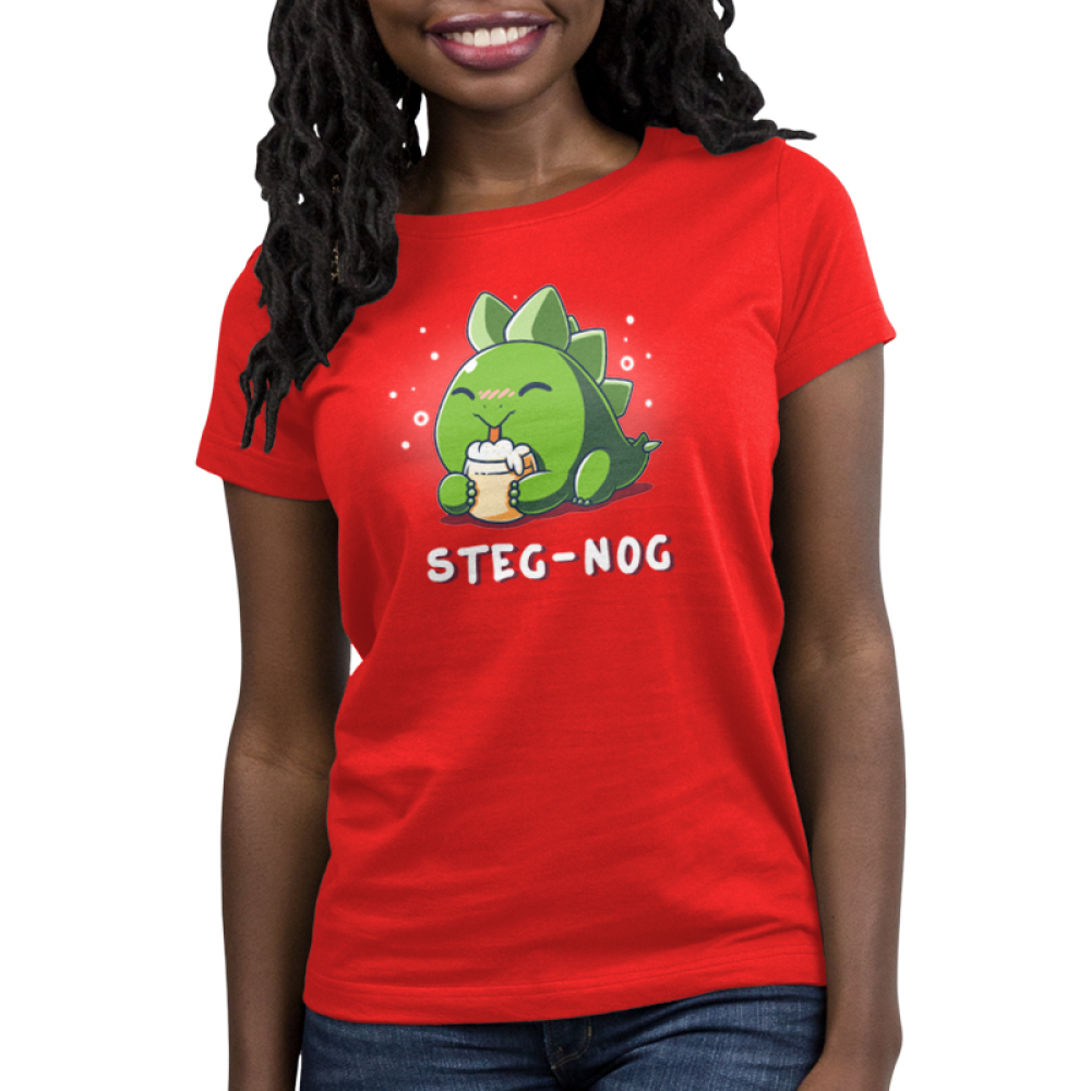 Steg-nog Women's t-shirt model TeeTurtle red t-shirt featuring a cute little dinosaur sipping on a frothy glass of egg nog