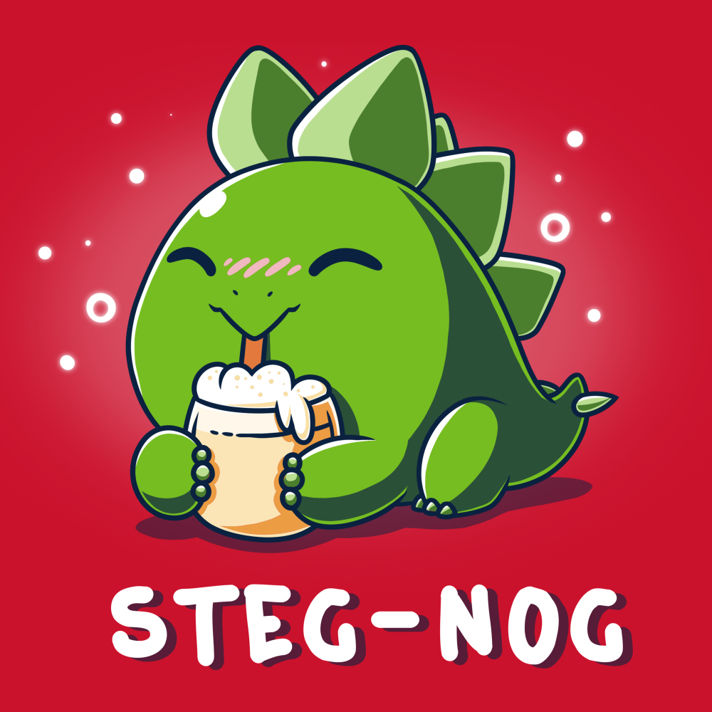 Steg-nog t-shirt TeeTurtle red t-shirt featuring a cute little dinosaur sipping on a frothy glass of egg nog