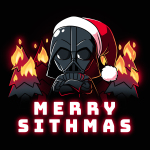 Merry Sithmas t-shirt officially licensed black Star Wars t-shirt featuring Darth Vader with his arms crossed wearing a santa had with black christmas trees on fire behind him