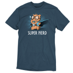 Super Nerd t-shirt TeeTurtle denim blue t-shirt featuring an otter in big round glasses and a blue cape on holding a book and wearing a belt with a gaming dice and video game player strapped to it