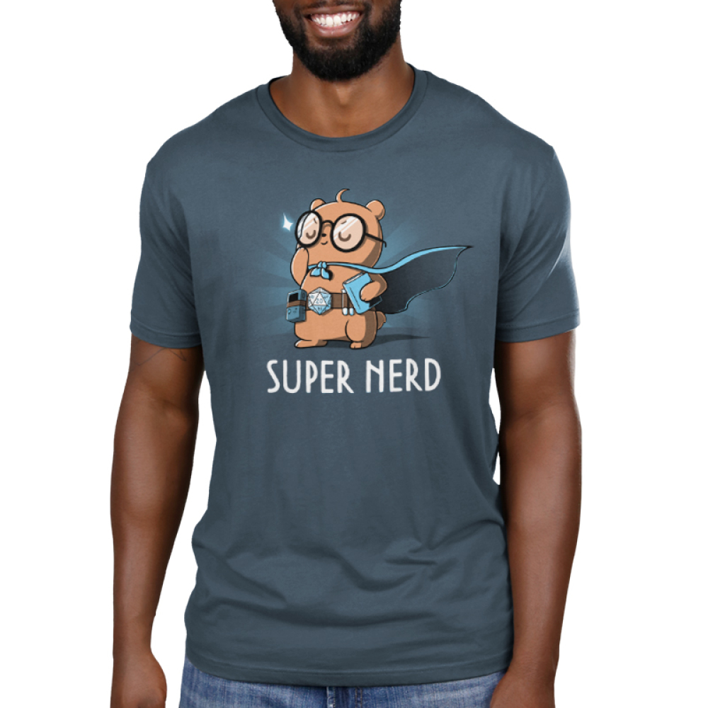 Super Nerd Men's t-shirt model TeeTurtle denim blue t-shirt featuring an otter in big round glasses and a blue cape on holding a book and wearing a belt with a gaming dice and video game player strapped to it