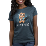 Super Nerd Women's t-shirt model TeeTurtle denim blue t-shirt featuring an otter in big round glasses and a blue cape on holding a book and wearing a belt with a gaming dice and video game player strapped to it