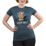 Super Nerd Junior's t-shirt model TeeTurtle denim blue t-shirt featuring an otter in big round glasses and a blue cape on holding a book and wearing a belt with a gaming dice and video game player strapped to it