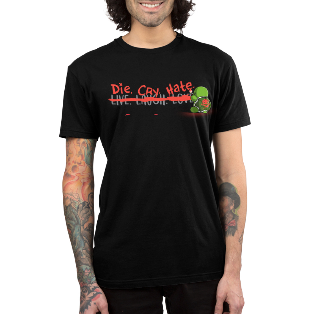 Die, Cry, Hate Men's t-shirt model TeeTurtle black t-shirt featuring the Live. Laugh. Love motto that has a red line painted in it with Die. Cry. Hate written instead with a turtle holding a paint brush with a skull painted on its shell