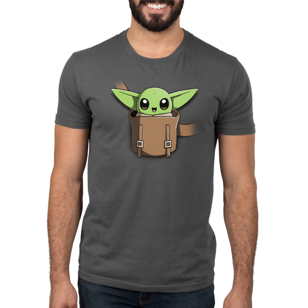 The Child on Your Chest Men's t-shirt model officially licensed charcoal Star Wars t-shirt featuring the child smiling in a little pouch placed in the middle of the shirt