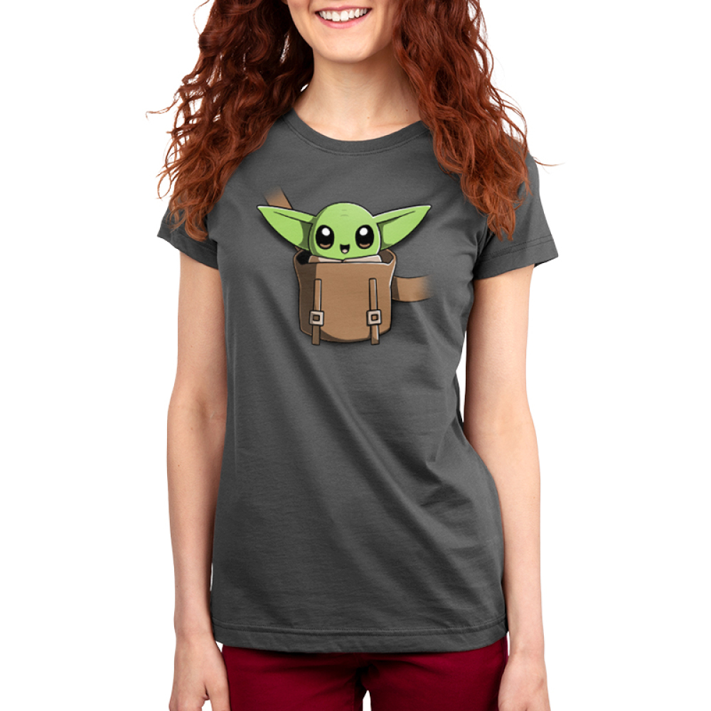 The Child on Your Chest Women's t-shirt model officially licensed charcoal Star Wars t-shirt featuring the child smiling in a little pouch placed in the middle of the shirt