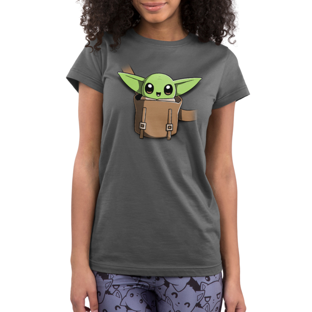 The Child on Your Chest Junior's t-shirt model officially licensed charcoal Star Wars t-shirt featuring the child smiling in a little pouch placed in the middle of the shirt