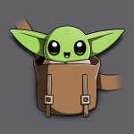 The Child on Your Chest t-shirt officially licensed charcoal Star Wars t-shirt featuring the child smiling in a little pouch placed in the middle of the shirt