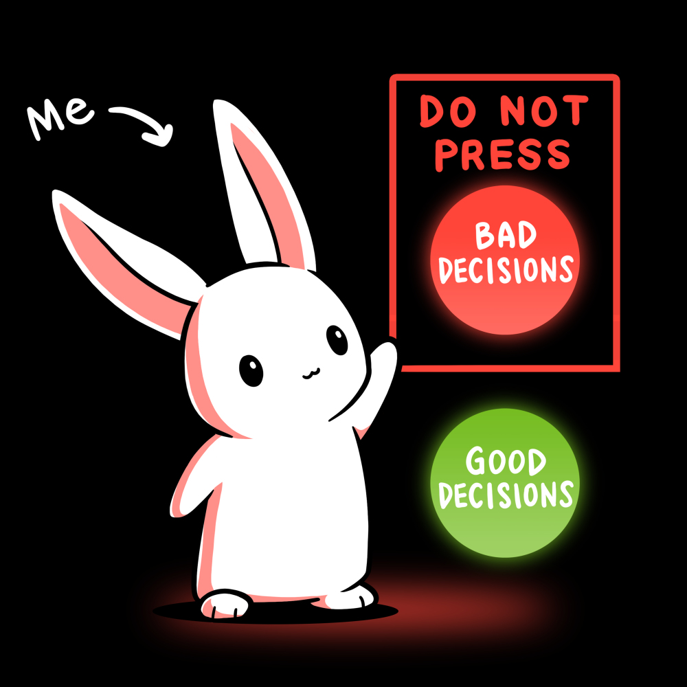Bad Decisions Bunny t-shirt TeeTurtle black t-shirt featuring a white bunny with an arrow pointing to it saying,