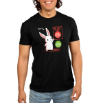 Bad Decisions Bunny Men's t-shirt model TeeTurtle black t-shirt featuring a white bunny with an arrow pointing to it saying,