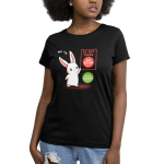 Bad Decisions Bunny Women's t-shirt model TeeTurtle black t-shirt featuring a white bunny with an arrow pointing to it saying,