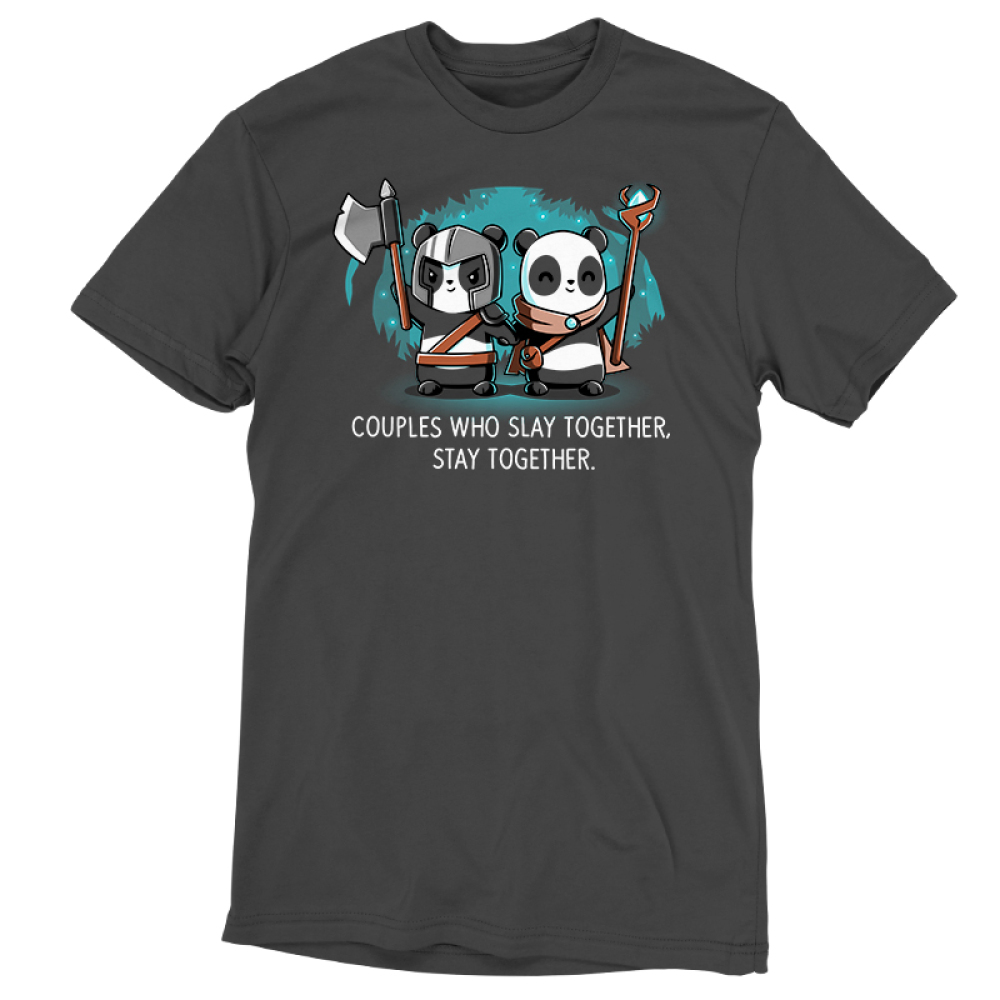 Couples Who Slay Together Stay Together t-shirt TeeTurtle charcoal t-shirt featuring one panda in a helmet holding an axe up and another in a cape smiling with a staff in her hand. They are holding hands in a forest with stars behind them