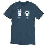 Me On The Inside t-shirt TeeTurtle denim blue t-shirt featuring a white bunny on the lefthand side with a calm happy expression, and a white bunny on the righthand side grabbing its ears with a panicked expression.