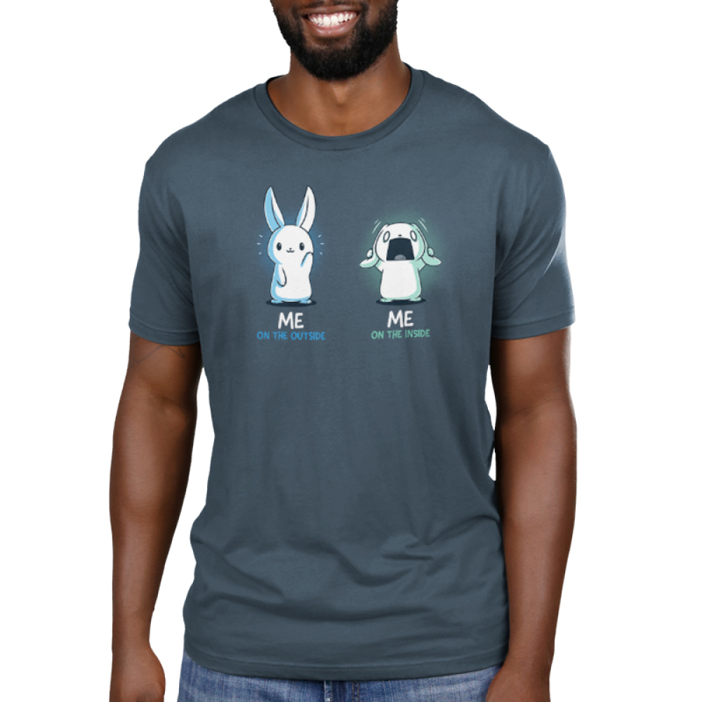 Me On The Inside Men's t-shirt model TeeTurtle denim blue t-shirt featuring a white bunny on the lefthand side with a calm happy expression, and a white bunny on the righthand side grabbing its ears with a panicked expression.