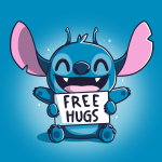 Free Hugs (Stitch) t-shirt TeeTurtle cobalt blue t-shirt featuring a grinning, sparkling Stitch from Lilo and Stitch sitting down with his upper arms held out and his lower arms holding a sign saying,