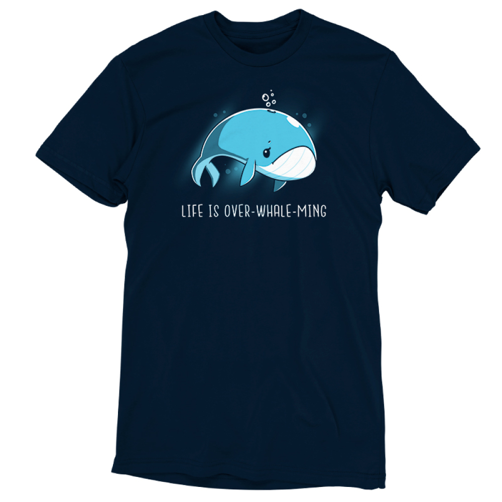 Life is Over-whale-ming t-shirt TeeTurtle navy t-shirt featuring a blue whale looking sad just floating under water