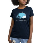 Life is Over-whale-ming Women's t-shirt model TeeTurtle navy t-shirt featuring a blue whale looking sad just floating under water