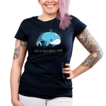 Life is Over-whale-ming Junior's t-shirt model TeeTurtle navy t-shirt featuring a blue whale looking sad just floating under water