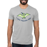 I Love Pterrible Puns Men's t-shirt model TeeTurtle silver t-shirt featuring a pterosaur dinosaur flying in the air