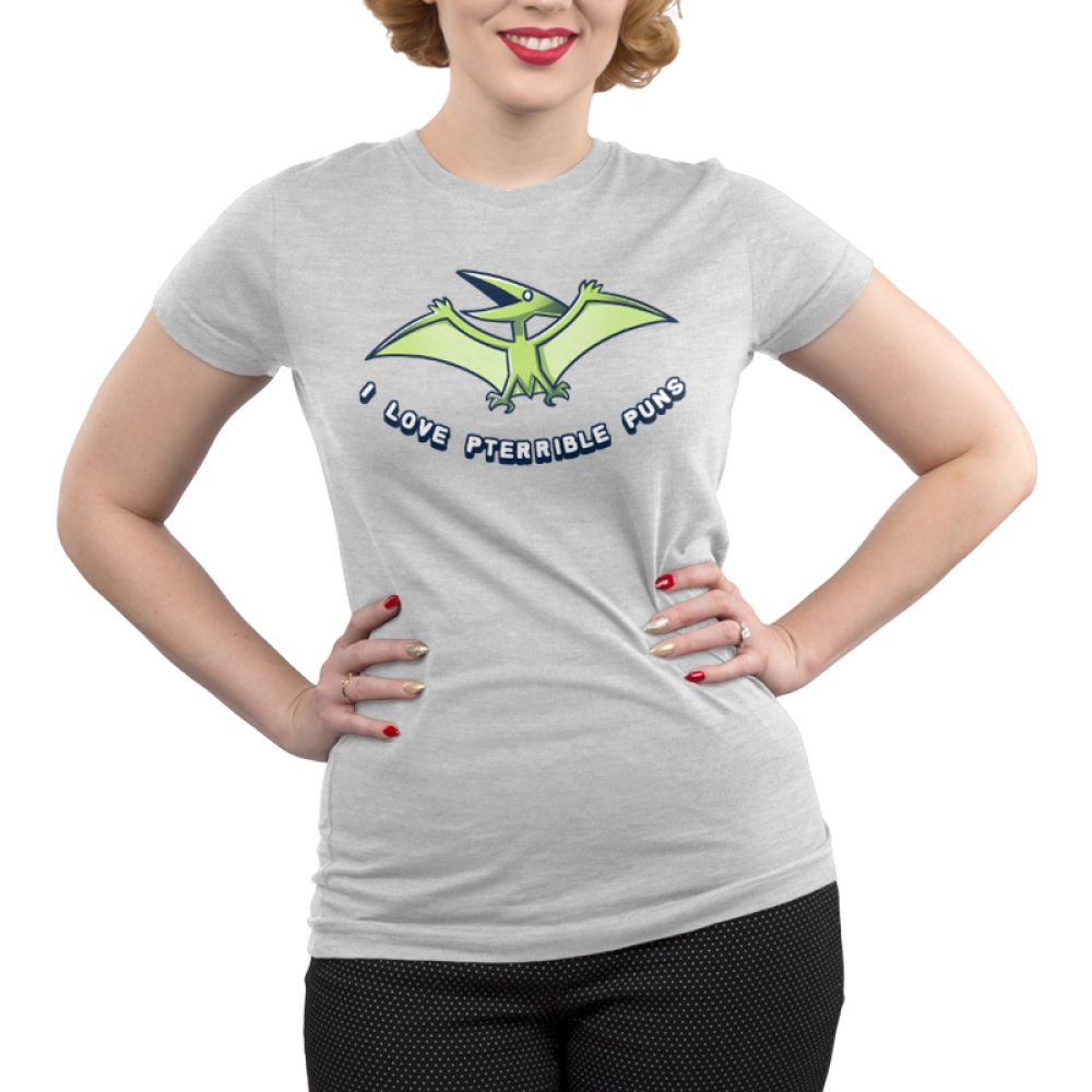 I Love Pterrible Puns Junior's t-shirt model TeeTurtle silver t-shirt featuring a pterosaur dinosaur flying in the air