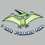 I Love Pterrible Puns t-shirt TeeTurtle silver t-shirt featuring a pterosaur dinosaur flying in the air