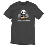 I Recharge When I'm Alone t-shirt TeeTurtle charcoal t-shirt featuring a panda with two big pillow behind him holding a cup of tea and reading a book laid out in front of him with a charging icon above his head