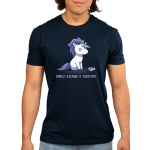 Barely Keeping It Together Men's t-shirt model TeeTurtle navy t-shirt featuring an anxious-looking white unicorn with a purple mane and tail whose horn made out of duct tape has partially peeled off, and a roll of duct tape is sitting on the floor.