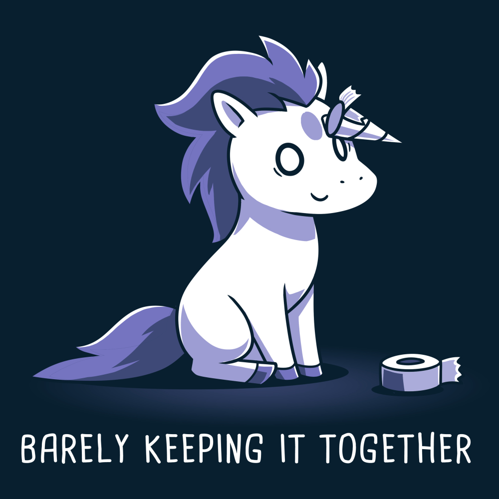 Barely Keeping It Together t-shirt TeeTurtle navy t-shirt featuring an anxious-looking white unicorn with a purple mane and tail whose horn made out of duct tape has partially peeled off, and a roll of duct tape is sitting on the floor.
