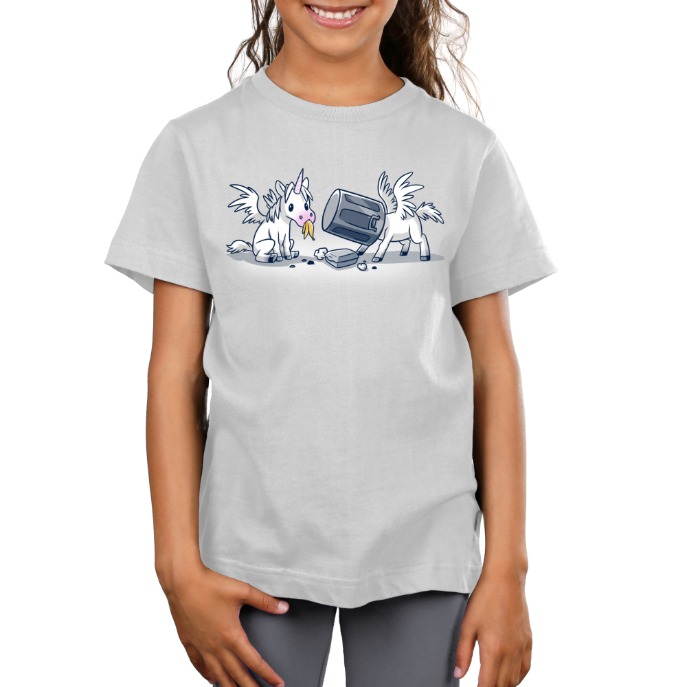 Trash Unicorns Kid's t-shirt model officially licensed silver Disney t-shirt featuring the white unicorns with wings from Onward that are eating in the trash, one has a banana in its mouth and the other has a silver garbage can stuck on its head