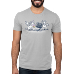 Trash Unicorns Men's t-shirt model officially licensed silver Disney t-shirt featuring the white unicorns with wings from Onward that are eating in the trash, one has a banana in its mouth and the other has a silver garbage can stuck on its head