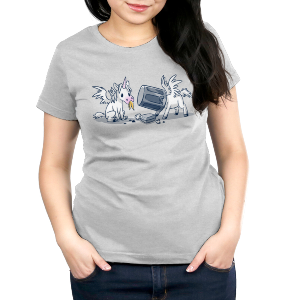 Trash Unicorns Women's t-shirt model officially licensed silver Disney t-shirt featuring the white unicorns with wings from Onward that are eating in the trash, one has a banana in its mouth and the other has a silver garbage can stuck on its head