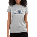 Trash Unicorns Junior's t-shirt model officially licensed silver Disney t-shirt featuring the white unicorns with wings from Onward that are eating in the trash, one has a banana in its mouth and the other has a silver garbage can stuck on its head