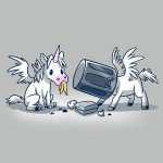 Trash Unicorns t-shirt officially licensed silver Disney t-shirt featuring the white unicorns with wings from Onward that are eating in the trash, one has a banana in its mouth and the other has a silver garbage can stuck on its head