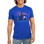 Onward Men's t-shirt model officially licensed royal blue Disney t-shirt featuring Ian and Barley Lightfoot sitting on their painted van with Ian holding the staff and Barley reading a book on top of the roof with a purple sky and mountain range behind them