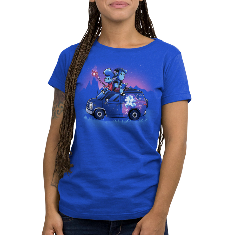 Onward Women's t-shirt model officially licensed royal blue Disney t-shirt featuring Ian and Barley Lightfoot sitting on their painted van with Ian holding the staff and Barley reading a book on top of the roof with a purple sky and mountain range behind them