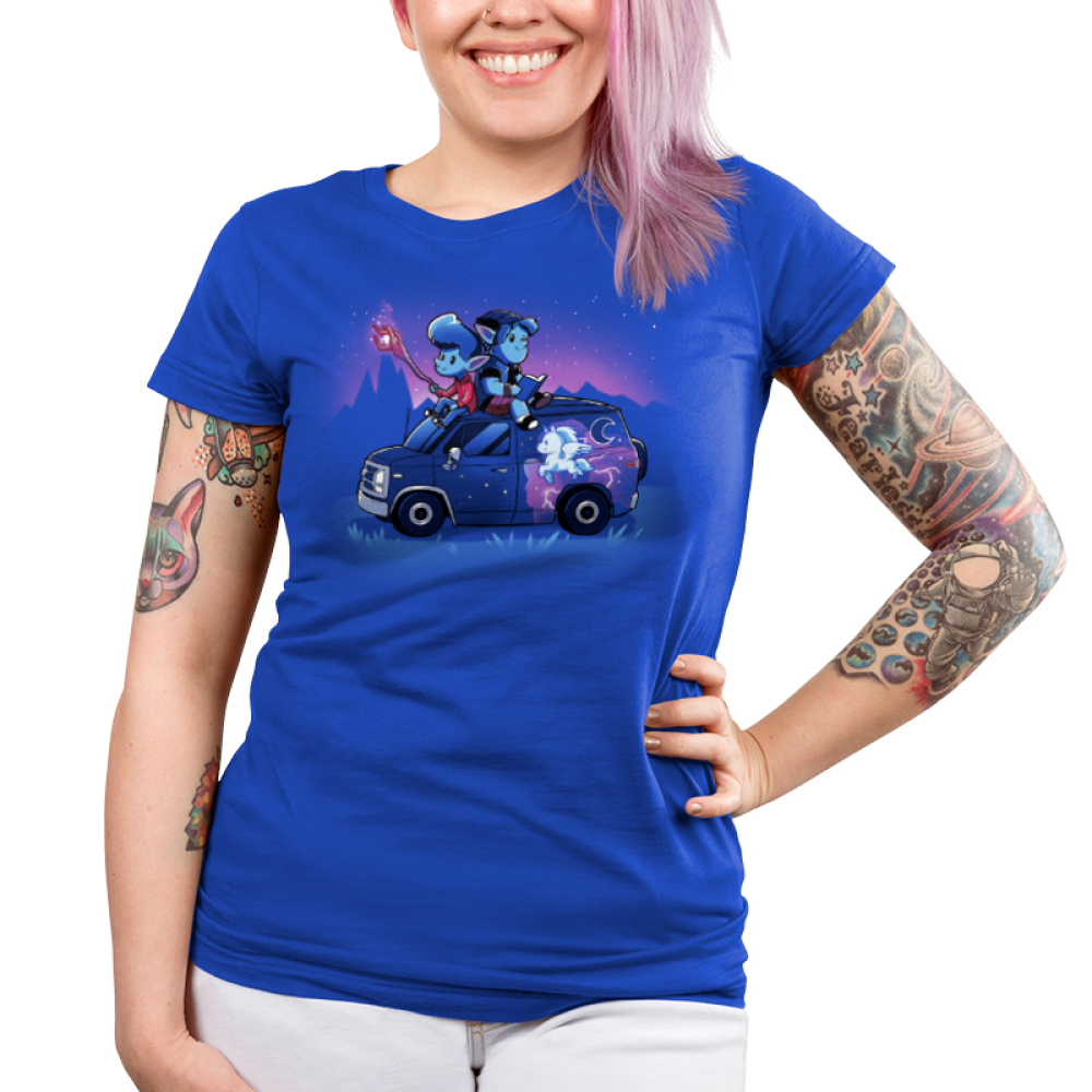 Onward Junior's t-shirt model officially licensed royal blue Disney t-shirt featuring Ian and Barley Lightfoot sitting on their painted van with Ian holding the staff and Barley reading a book on top of the roof with a purple sky and mountain range behind them