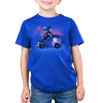 Onward Kid's t-shirt model officially licensed royal blue Disney t-shirt featuring Ian and Barley Lightfoot sitting on their painted van with Ian holding the staff and Barley reading a book on top of the roof with a purple sky and mountain range behind them