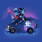 Onward t-shirt officially licensed royal blue Disney t-shirt featuring Ian and Barley Lightfoot sitting on their painted van with Ian holding the staff and Barley reading a book on top of the roof with a purple sky and mountain range behind them