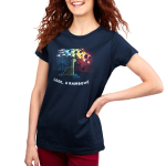 Look, a Rainbow! Women's t-shirt model TeeTurtle navy t-shirt featuring a happy green brontosaurus on a hilltop looking at a rainbow-colored meteor shower with silhouetted palm trees in the distance.