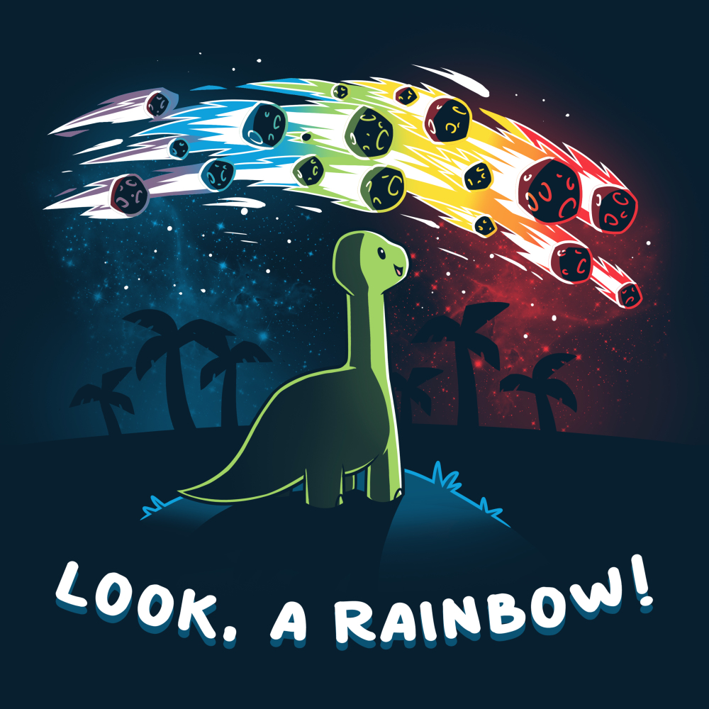 Look, a Rainbow! t-shirt TeeTurtle navy t-shirt featuring a happy green brontosaurus on a hilltop looking at a rainbow-colored meteor shower with silhouetted palm trees in the distance.
