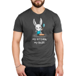 My Kitchen My Rules Men's t-shirt model TeeTurtle charcoal t-shirt featuring a bunny in a blue apron holding up a blue spatula with its foot on a rolling pin