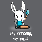 My Kitchen My Rules t-shirt TeeTurtle charcoal t-shirt featuring a bunny in a blue apron holding up a blue spatula with its foot on a rolling pin