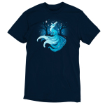 Winter Kitsune t-shirt TeeTurtle navy t-shirt featuring a blue kitsune with a blue night sky behind him with his tale flowing down a hill with dark tress behind him and snowflakes